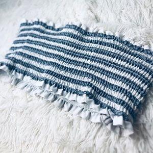 Striped Swim Top - Grey/White